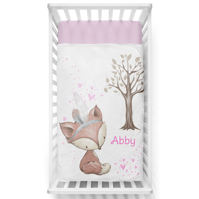 Pink Forest Fun Personalized Minky Blanket - BitsyBon