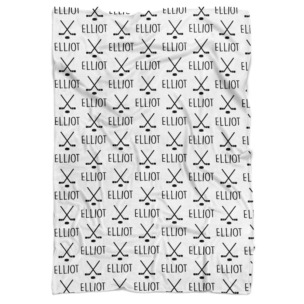 Hockey Sticks Personalized Minky Blanket - BitsyBon