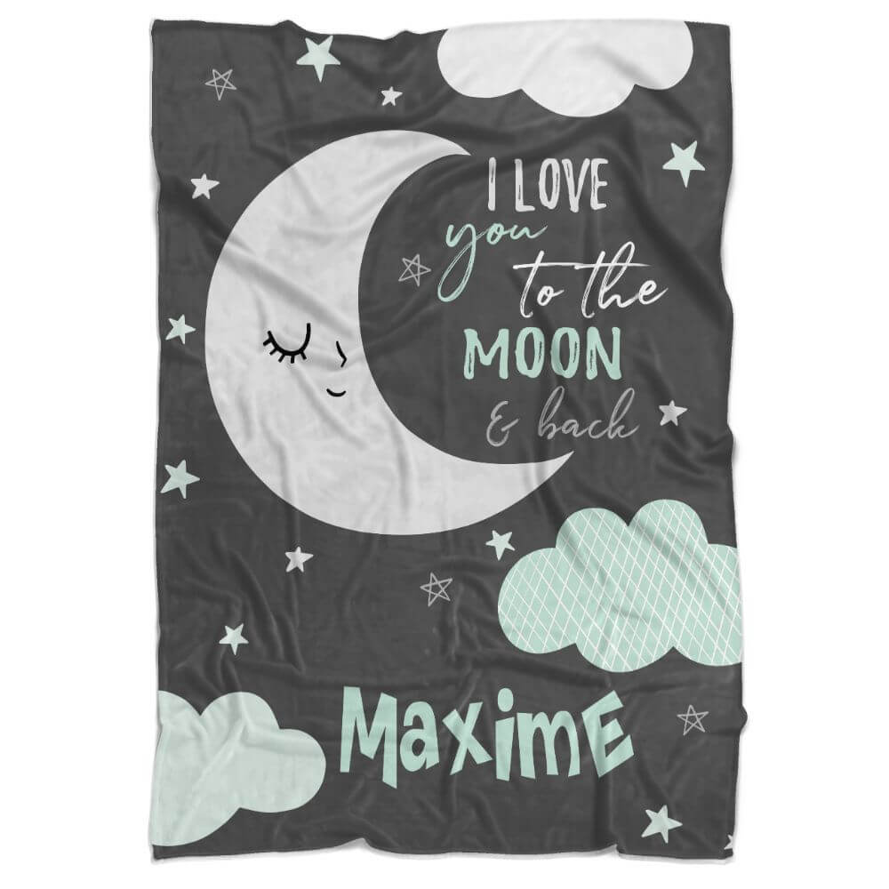 Moon Love Personalized Minky Blanket (Multiple Colours Available) - BitsyBon