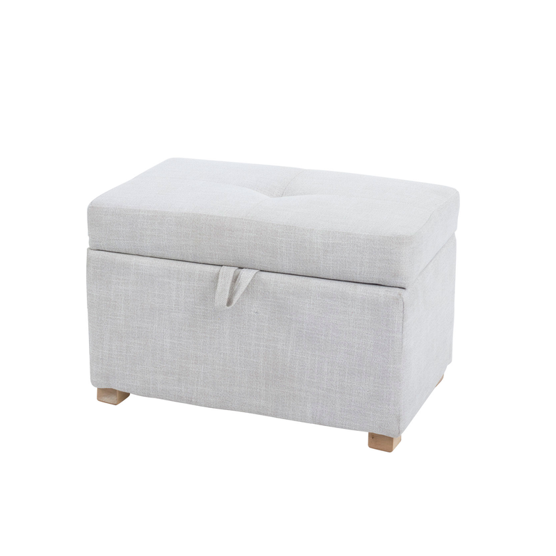 Tufted footstool in soft cream colour doubles as clever storage solution
