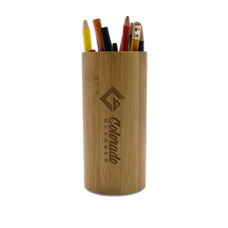 Upcycled bamboo pen holder