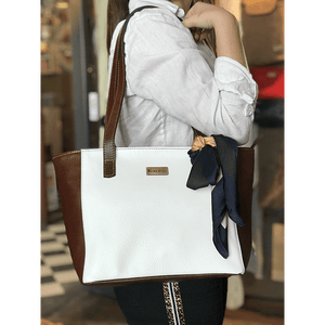 Cartera Tomasa Cafe con Blanco