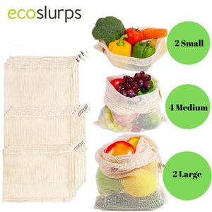 9 Reusable Produce Bags With Drawstrings And Woven Organic Cotton Shopping Bag - EcoSlurps Store