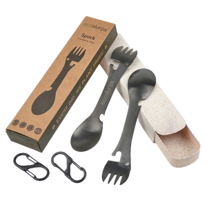 Spork With Carry Clip & Wheat Straw Carry Case - EcoSlurps Store