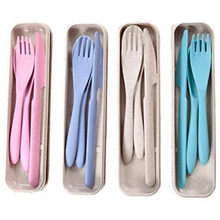 Load image into Gallery viewer, Reusable Wheat Straw Cutlery Set - EcoSlurps Store