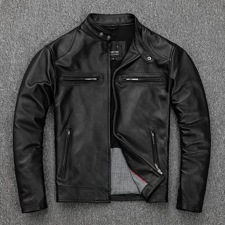 Mens Leather jacket.motor biker leather