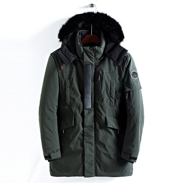 Winter Jacket Men Long Fur Collar Hooded Parka for Men
