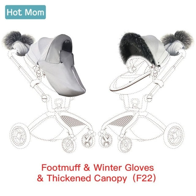 Hot Mom F22 Stroller Winter Gloves Thickened Canopy