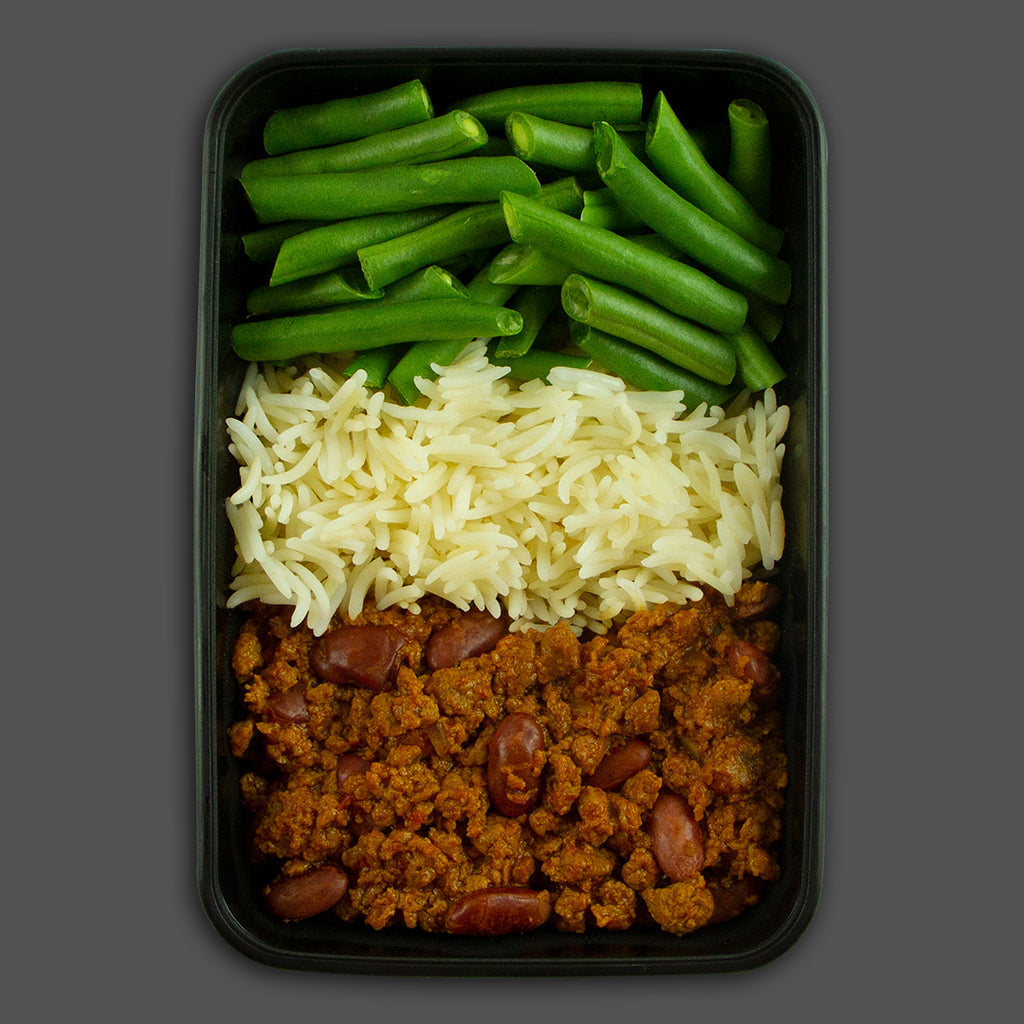 Deep south beef chilli high in protein frozen fitness meals