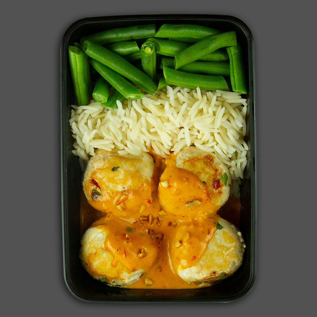 Muay Thai meatballs, chicken red Thai curry high in protein frozen fitness meals