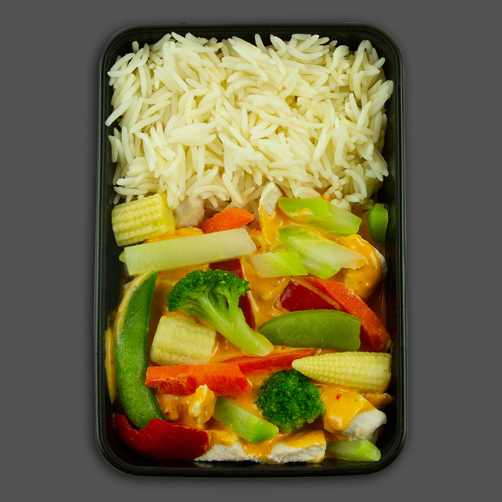 Red Thai chicken curry high in protein performance meals delivered