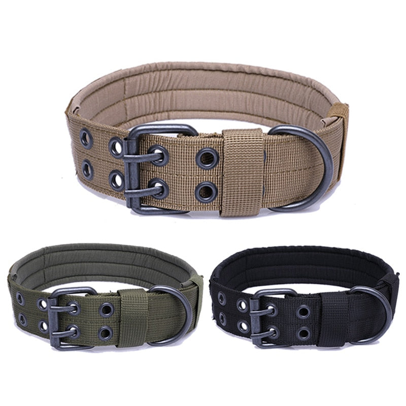 Double Row Adjustable Buckle Thick Dog Collar For Shepherd Dogs/K9