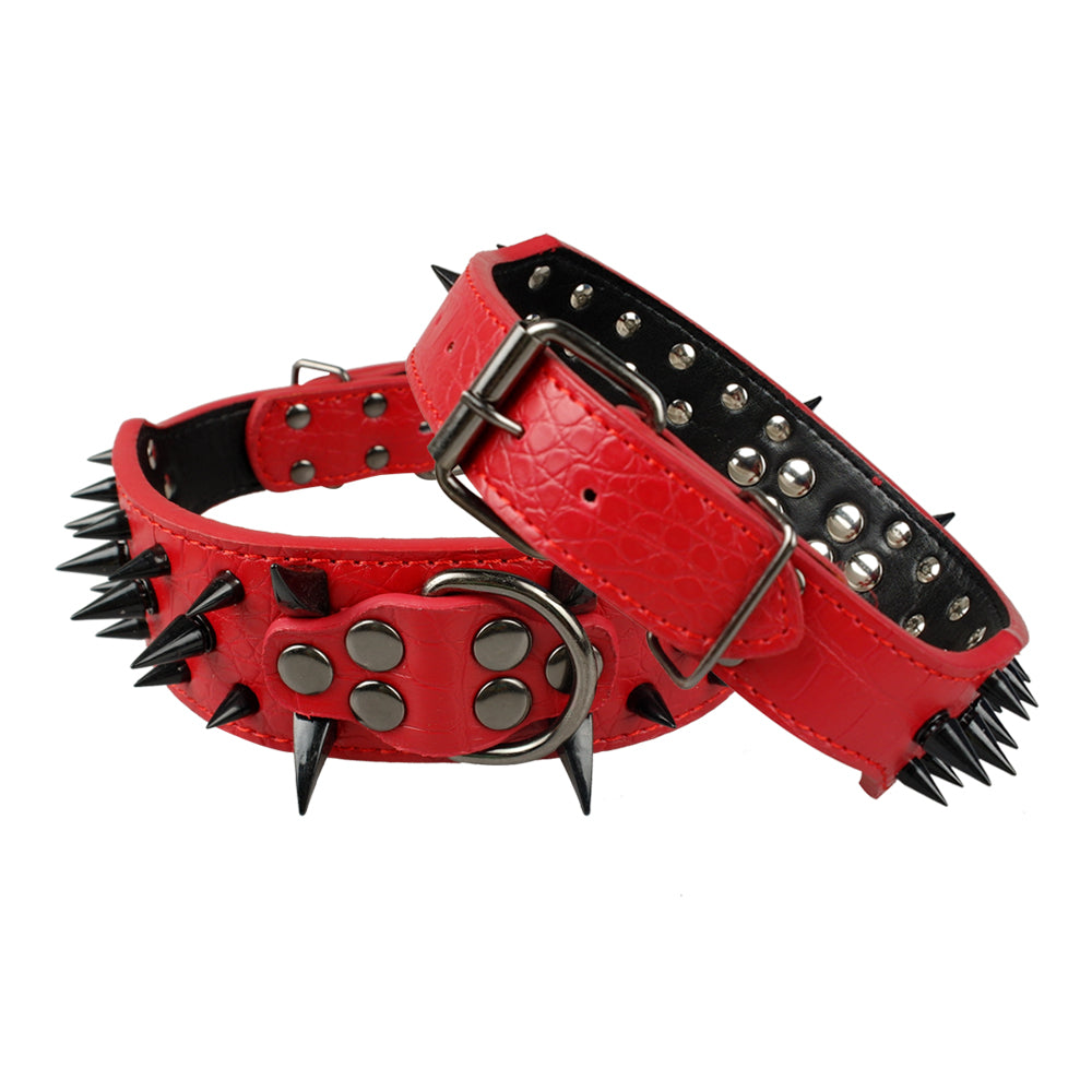 "2"" Wide Sharp Spiked Studded Leather Dog Collar Luxury Dog Accessories"