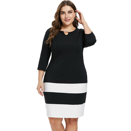 Plus Size Striped Dress  3/4 Sleeves