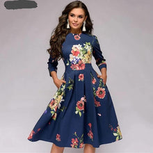 Load image into Gallery viewer, 0065 A Line  3/4 Sleeve Floral Dress