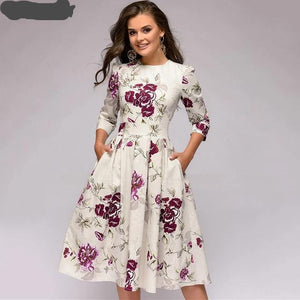 0065 A Line  3/4 Sleeve Floral Dress