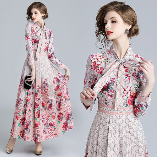 555 Floral Print Collar Ribbon Tie Neck Long Sleeve