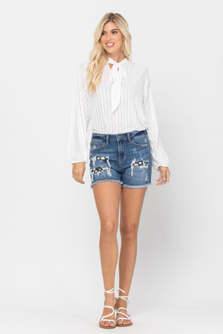 High Rise Daisy Patch Short