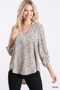 Leopard Collarless top