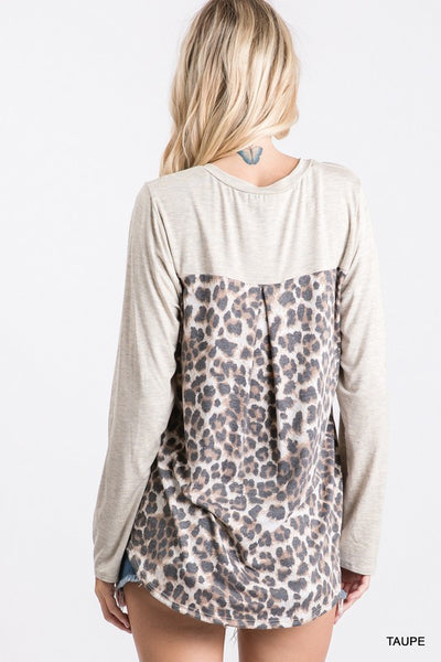 Knit L/S Leopard Detail top