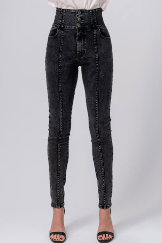 Acid Washed 3 button Skinny jeans