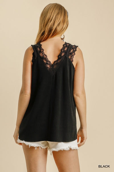 Lace Trim V-Neck Tank