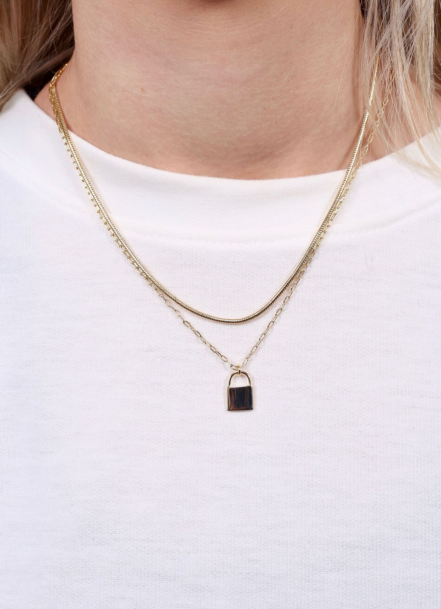 Gold Lock Charm Layered Necklace
