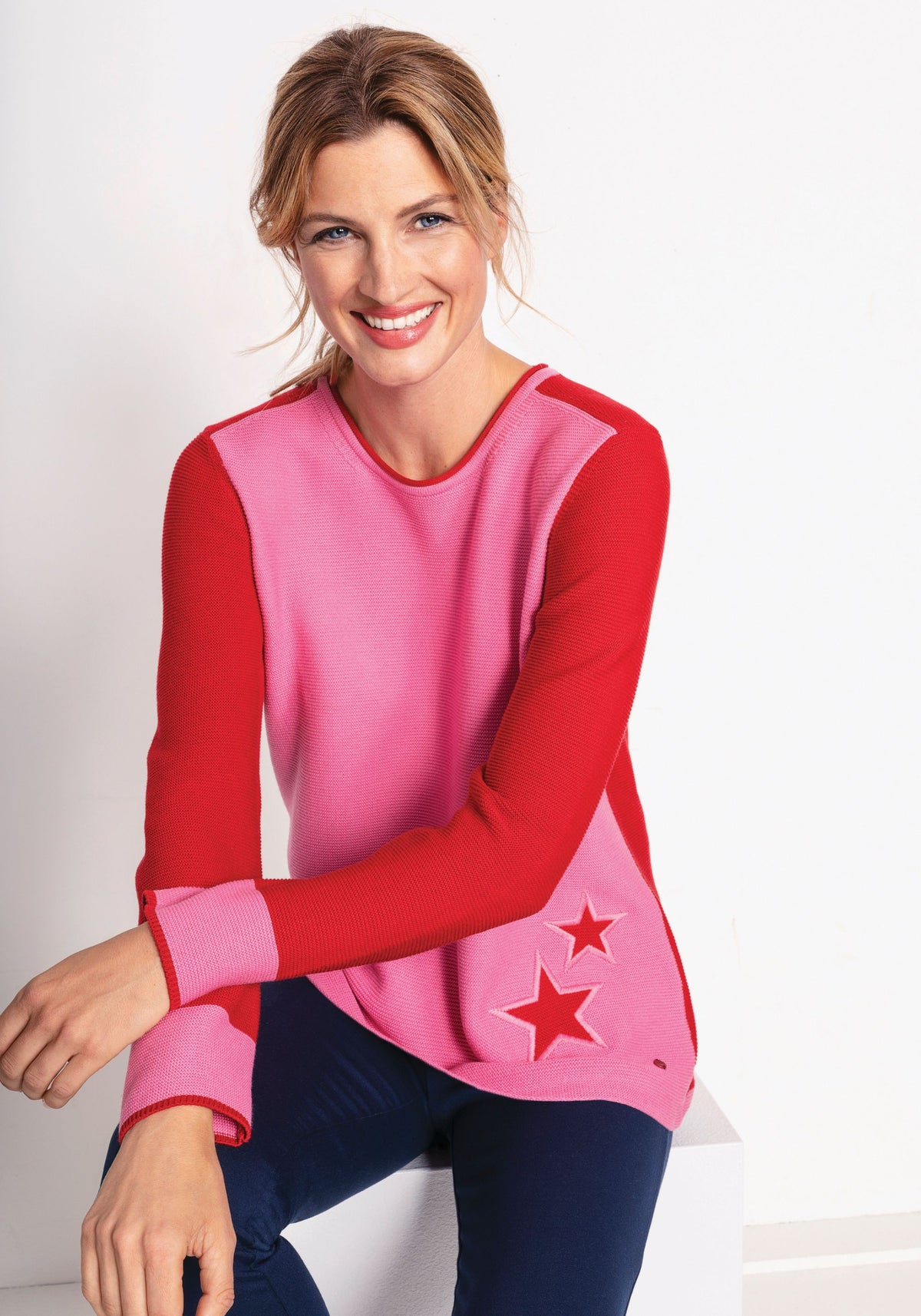 Colour Block Star Detail Sweater