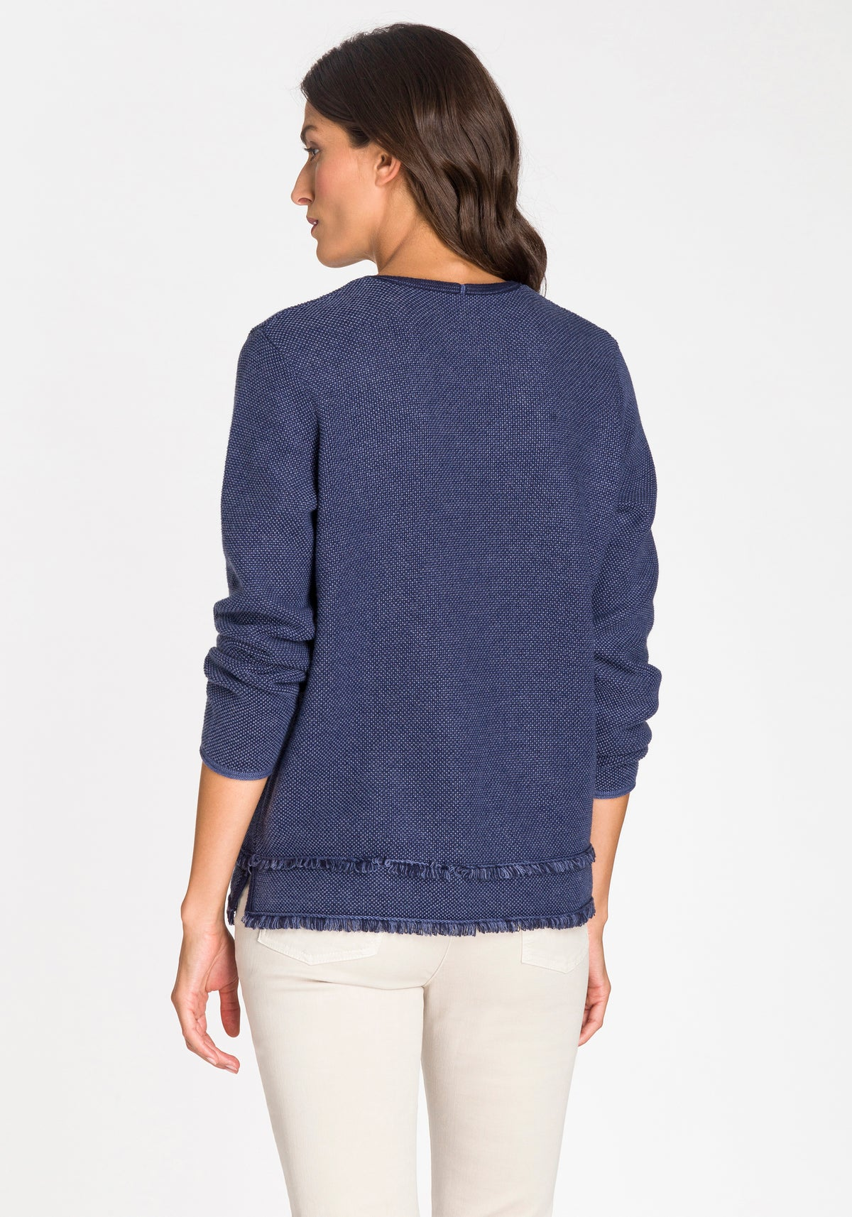 Fringe Trim V-Neck Sweater