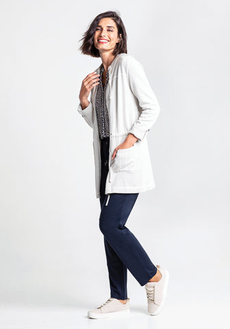 Double Drawstring Zip-Up Cardigan