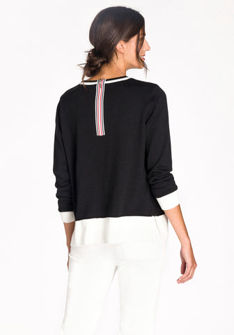 Colour Block Sweater with Back Zipper