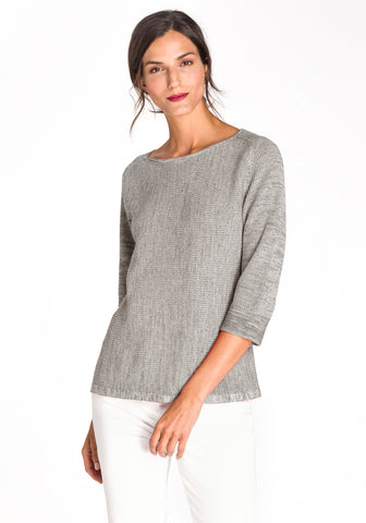 Boat Neck Sweater with Three Quarter Sleeves