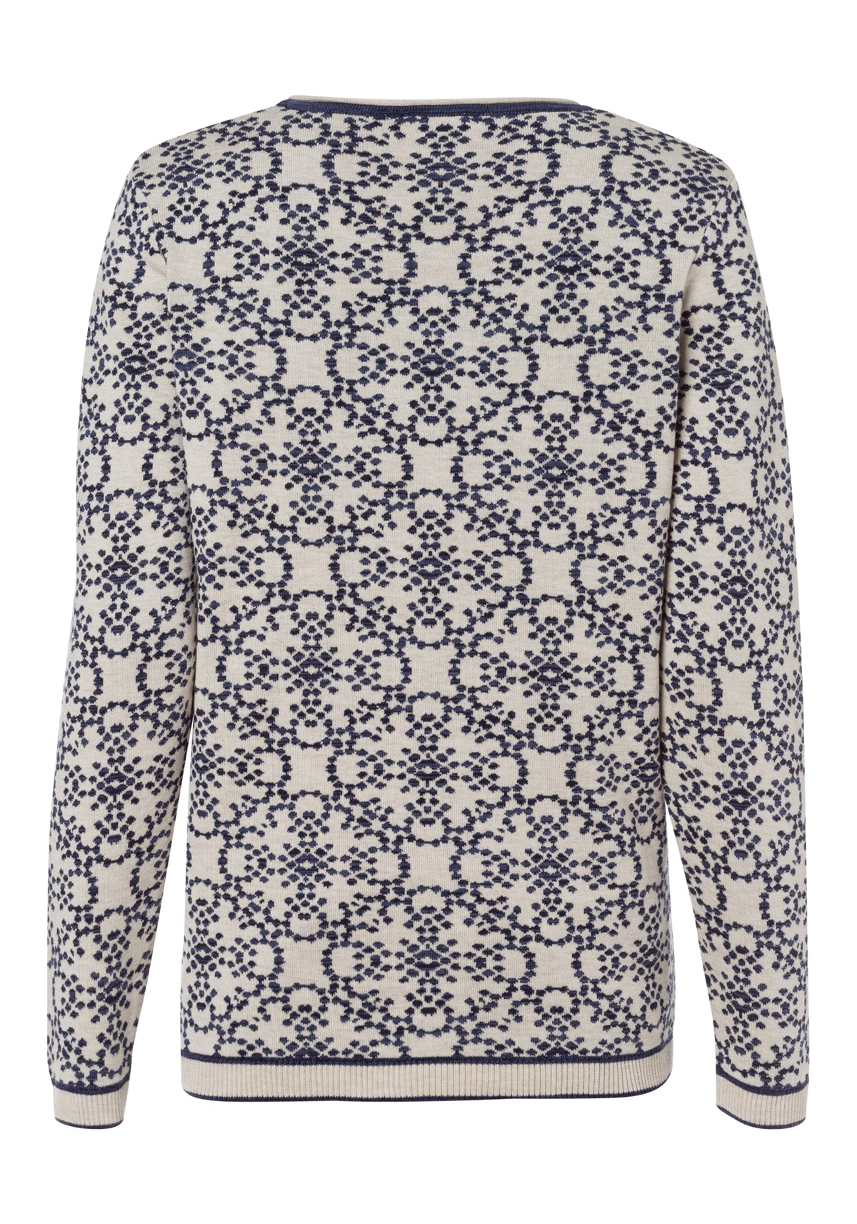 Tile Print Sweater with Trim