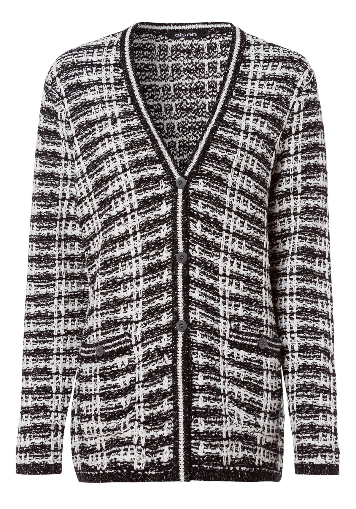 Contrast Knit Button-Down Cardigan