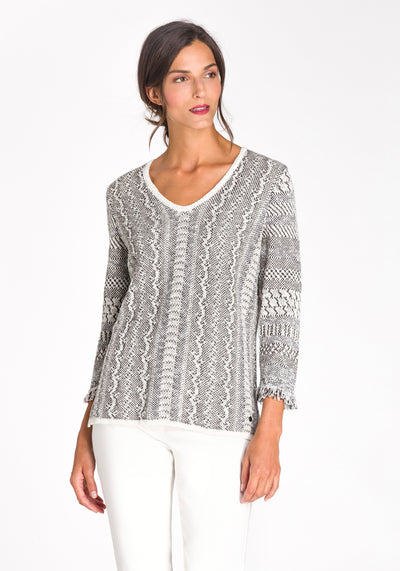 Snake Knit Sweater with Fringe Trim