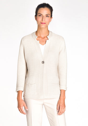 One-Button Notched Collar Cardigan