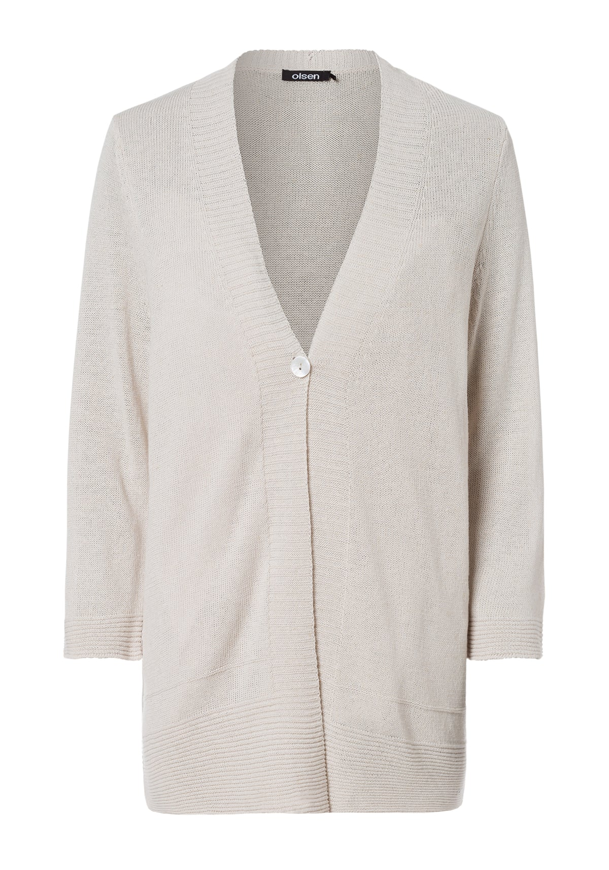 Solid V-Neck Linen Blend Cardigan