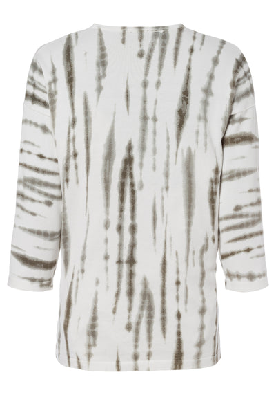 100% Cotton V-Neck 3/4 Sleeve Tie-Dye Pullover with Side Slits