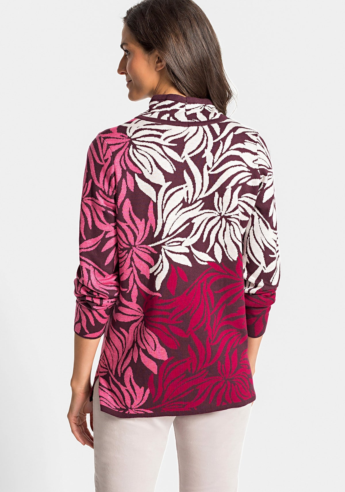 Long Sleeve Abstract Floral Mock Neck Sweater with Rhinestone Accents