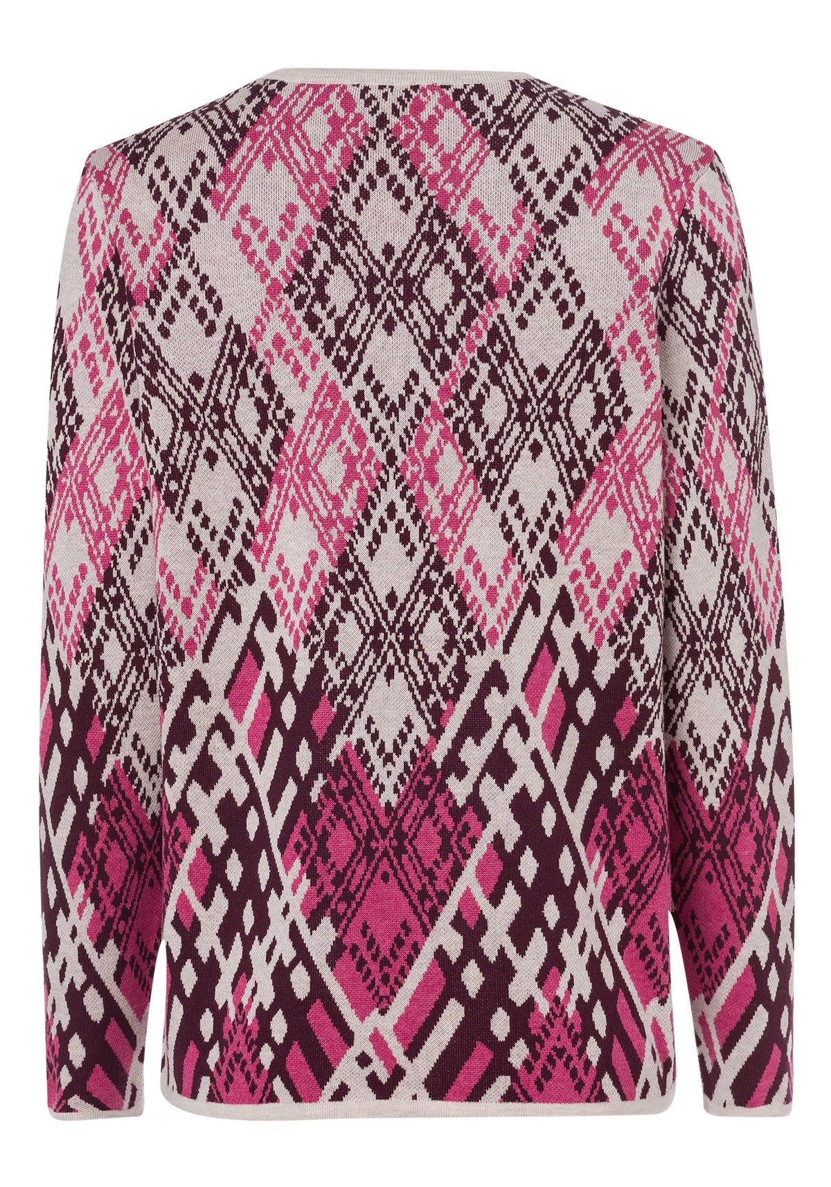 Long Sleeve V-Neck Abstract Argyle Pullover
