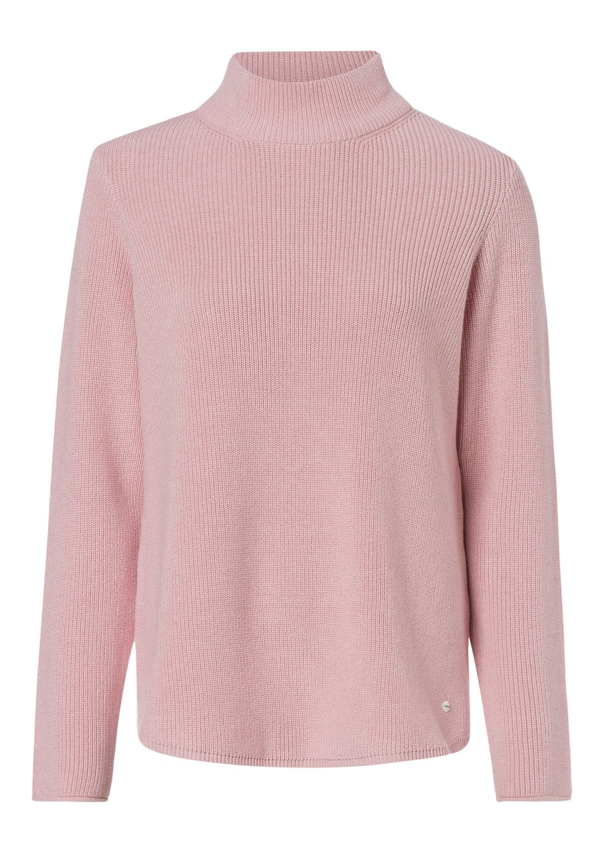 Cotton Blend Long Sleeve Mock Neck Sweater