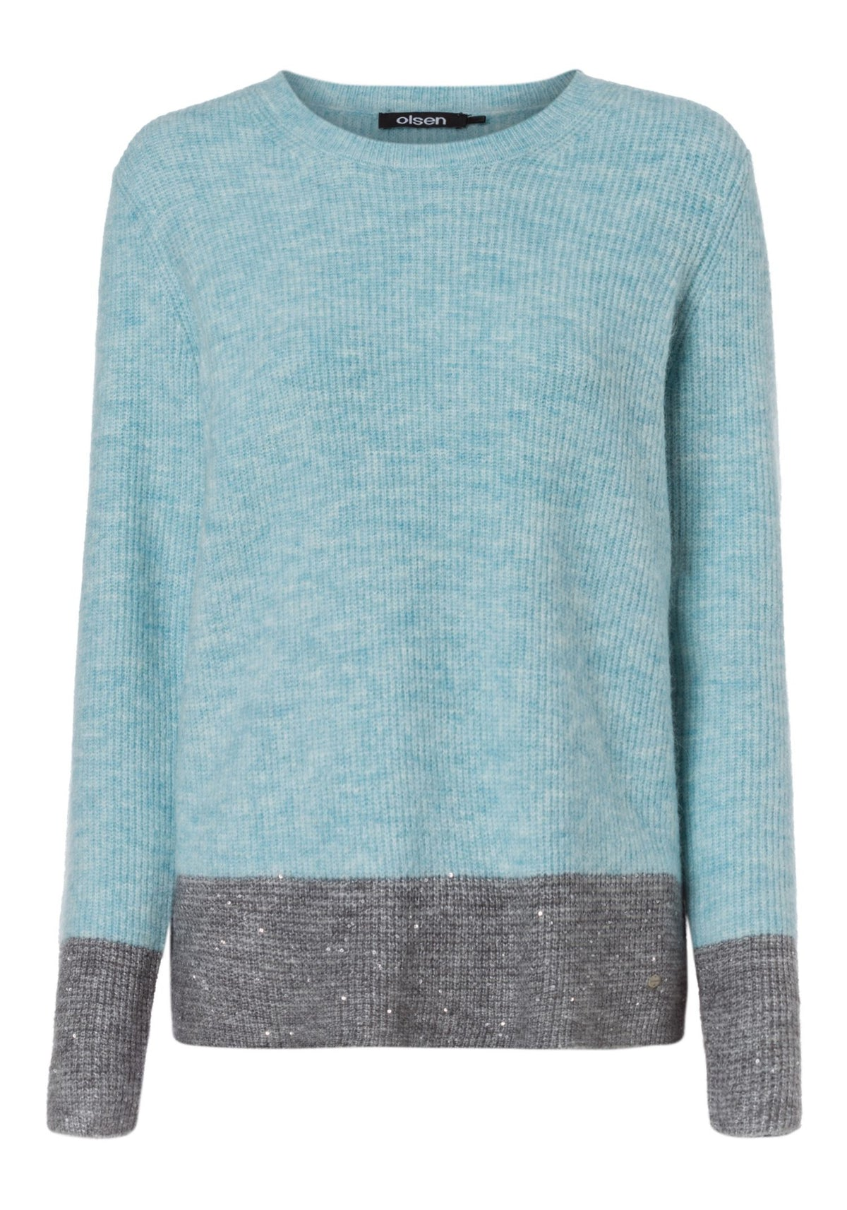 Soft Melange Knit Boat Neck Pullover with Sequined Block Stripe Hem (Henny Fit)