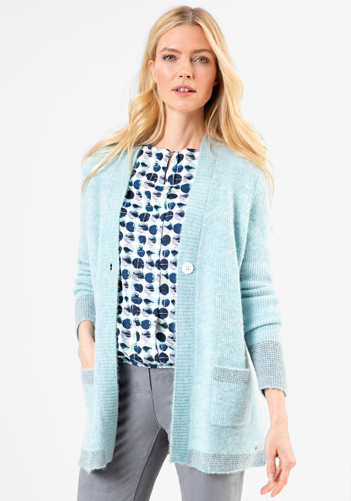 Soft Melange Knit 1-Button Cardigan with Sequined Stripe Trim (Henny Fit)