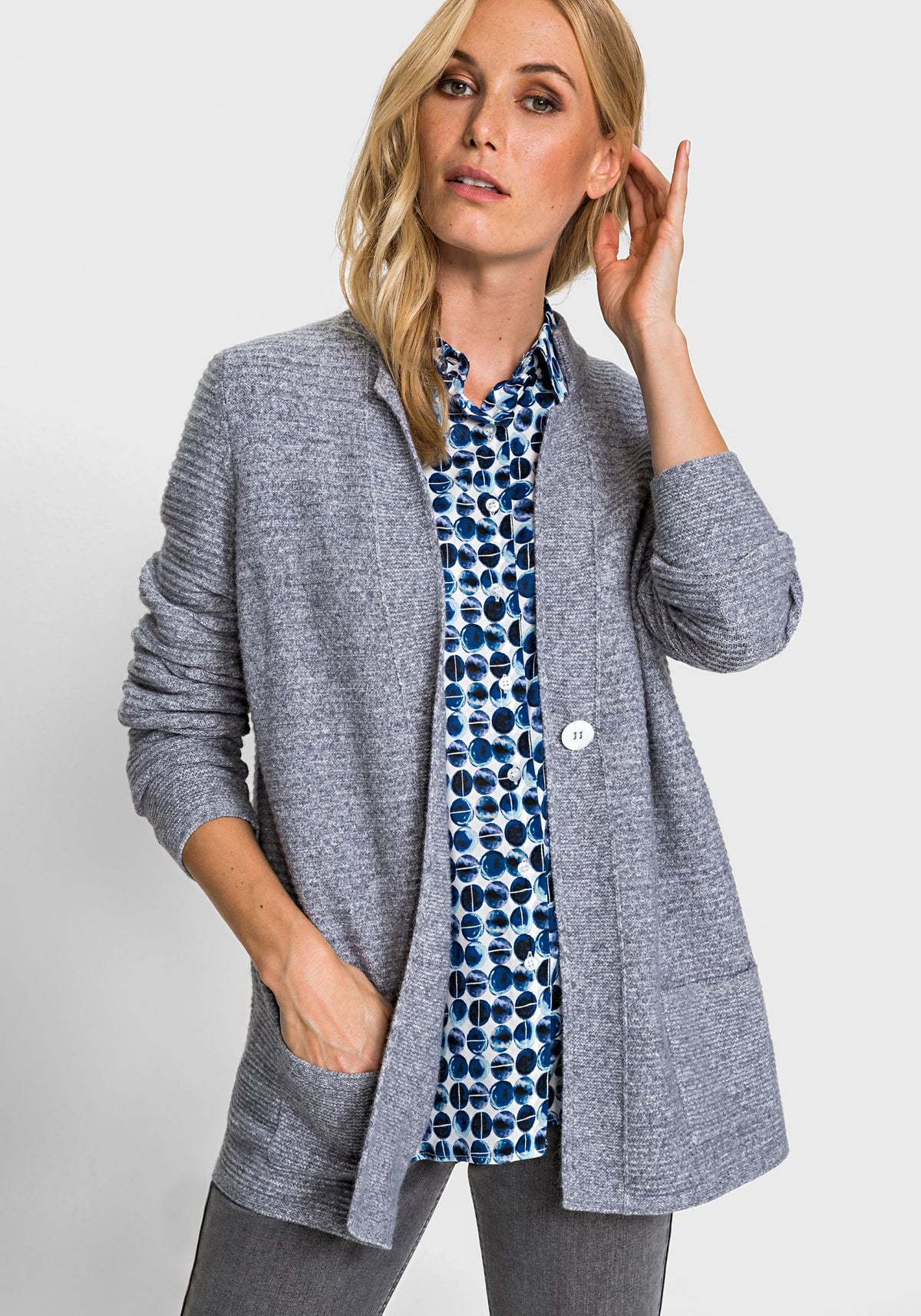 Long Sleeve 1-Button Inverted Lapel Collar Cardigan (Henny Fit)