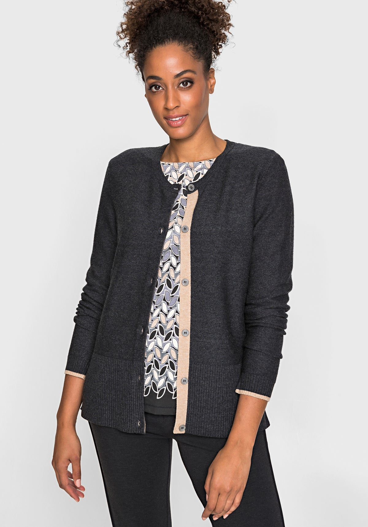 Long Sleeve Crew Neck Classic Button Cardigan