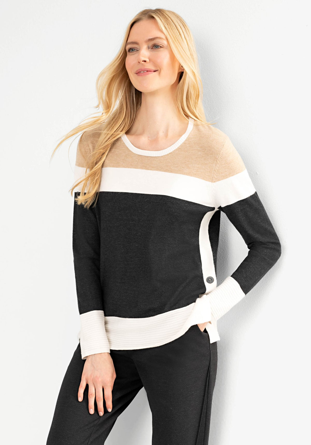 Long Sleeve Crew Neck Stripe Sweater with Side Button Detail