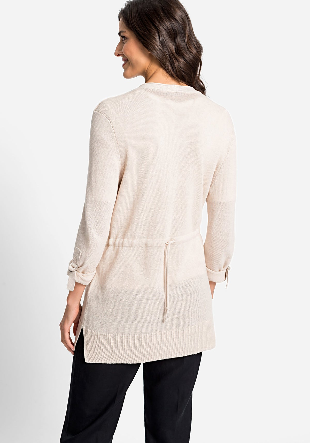 Long Line Open Front Cardigan with Roll Tab Sleeve Detail