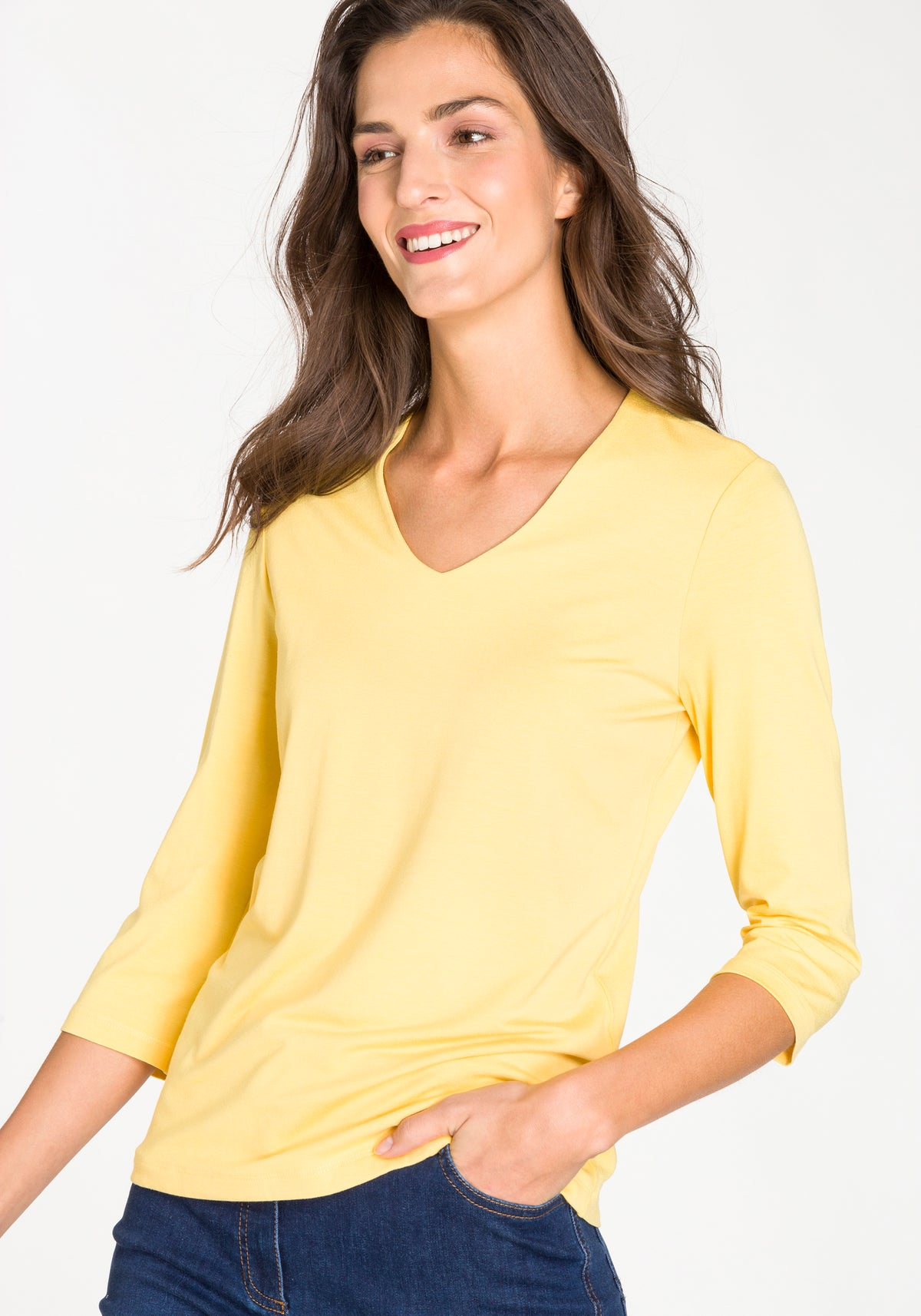 V-neck T-Shirt with Three Quarter Sleeve