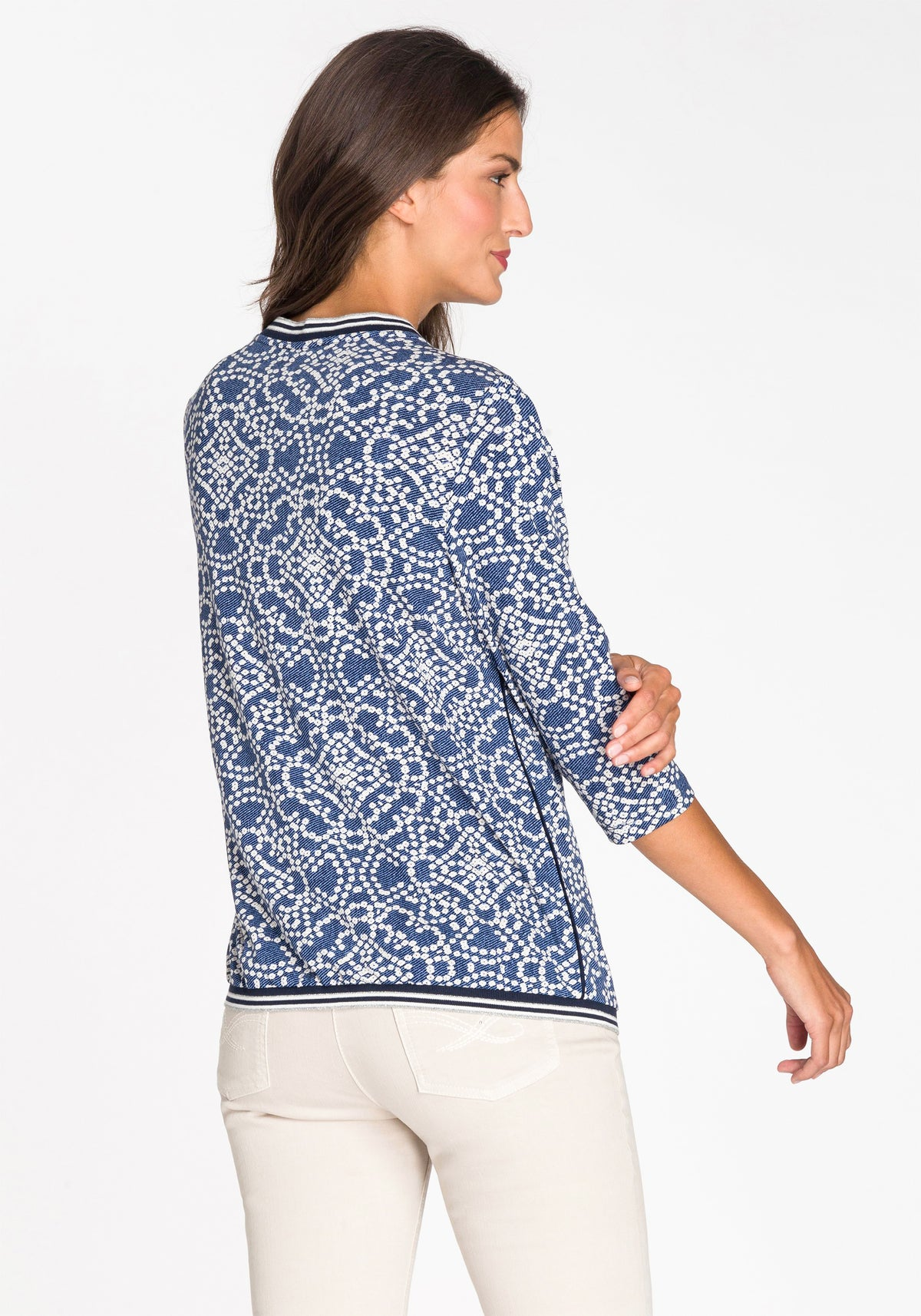 Ornamental Tile Print Tee with Trim