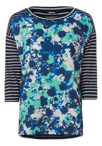 Floral Camo T-shirt with Striped Sleeves